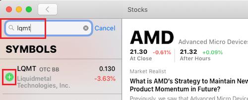 Pridajte akcie do zoznamu sledovaných na sklade aplikácie pre Mac