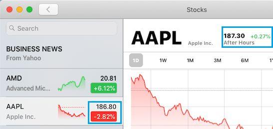 Skontrolujte aktuálnu cenu akcií v aplikácii Stock App for Mac
