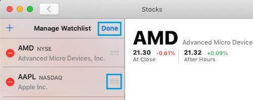 Zmena usporiadania akcií v zozname sledovaných akcií na sklade pre Mac