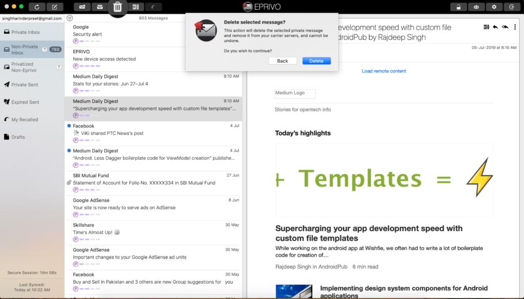 EPRIVO Review - Zabezpečte svoju aktuálnu e-mailovú adresu ľahko 6