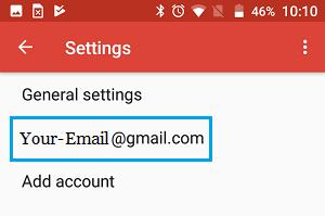 Na obrazovke Nastavenia služby Android Gmail vyberte možnosť E-mail