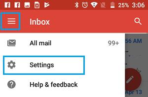 Otvorte nastavenia Gmailu v telefóne Android