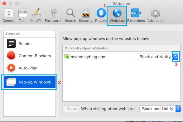 Povoliť alebo blokovať kontextové okná v prehliadači Safari pre jeden web v počítačoch Mac