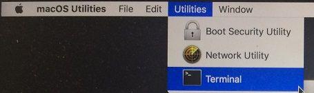 Nástroje a možnosti terminálov v systéme Mac v režime obnovenia