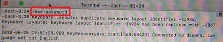 Obnovte heslo Mac pomocou terminálu v režime obnovenia