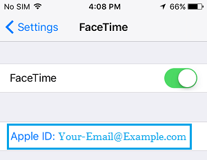 Apple    ID na obrazovke nastavení FaceTime