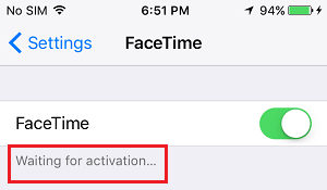 Čaká sa na chybové hlásenie o aktivácii na obrazovke nastavení FaceTime pre iPhone