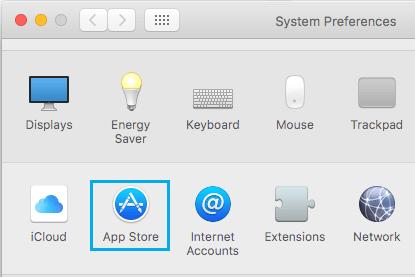 App Store na obrazovke System Preferences v systéme Mac