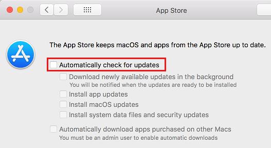 Zastavte počítač Mac v automatickej kontrole aktualizácií