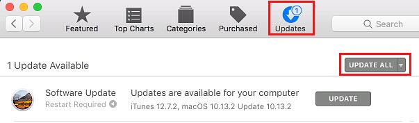Karta Aktualizácie v Mac App Store