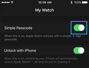 Vypnite jednoduché heslo Apple Watch
