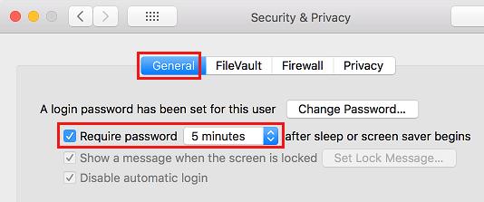 Vyžadovať heslo po spánku obrazovky Mac