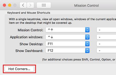 Možnosti horúcich rohov na obrazovke Mac Control Control Settings