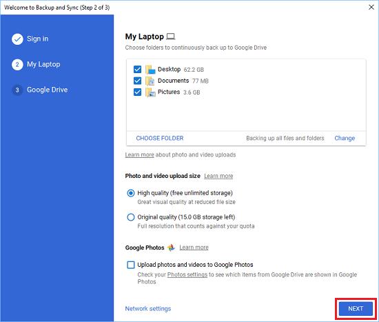 Stolové počítače, dokumenty a fotografie vybrané na zálohovanie na Disk Google