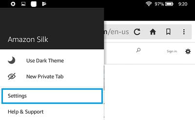 Amazon    Možnosti pre Silk Nastavenia prehliadača
