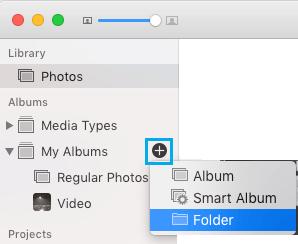 Vytvorte priečinok v aplikácii Fotografie na počítačoch Mac