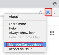 Hantera Cast-enheter i Chrome Browser