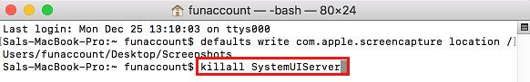 Príkaz killall SystemUIServer v termináli Mac