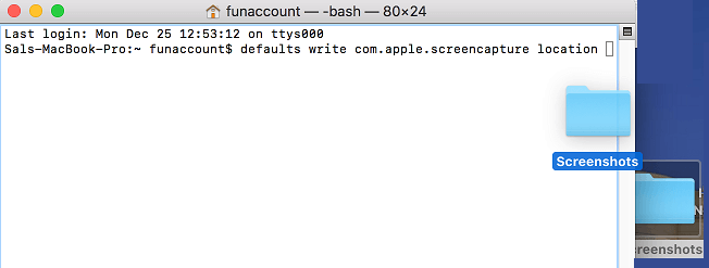 Presuňte priečinok do okna terminálu v systéme Mac