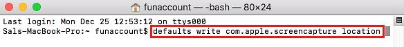Zmeňte predvolený príkaz priečinka snímky obrazovky v termináli systému Mac