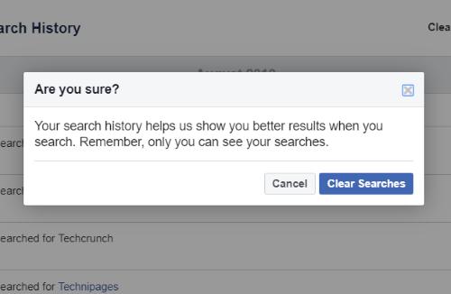 Ako čistiť Facebook História vyhľadávania 7