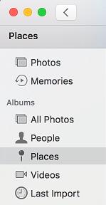 Karta Miesta v aplikácii Mac Photos