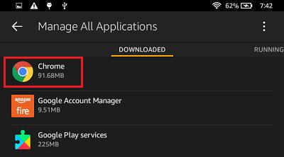 Zoznam stiahnutých aplikácií na stránke Kindle požiarne