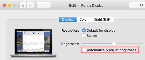 Zastavte Mac v automatickom nastavovaní jasu