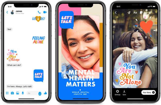 Facebook lägg till klistermärken och filter för att fira Mental Health Day 1