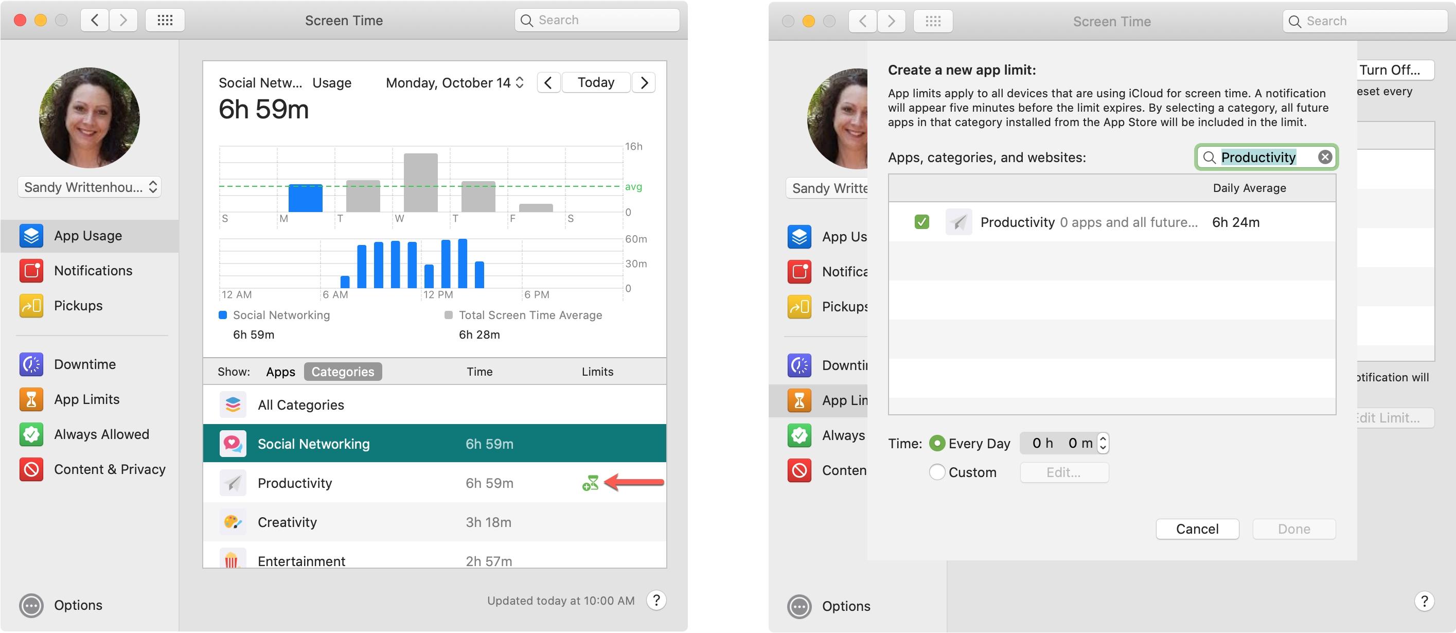 App-användning timglas och begränsa Mac