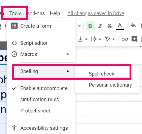 Ako ovládať pravopis v Tabulkách Google 4