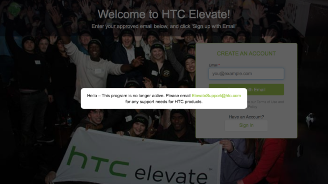 https://www.androidpolice.com/2020/01/11/htcs-site-down-for-many-elevate-program-in-doubt/ 1