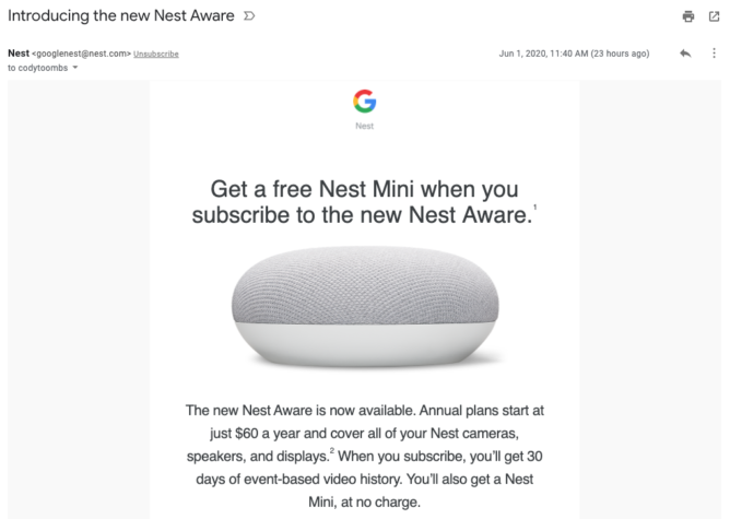 Google erbjuder gratis Nest Hub för Nest Aware-abonnenter fungerar nu inlösenkoder 4