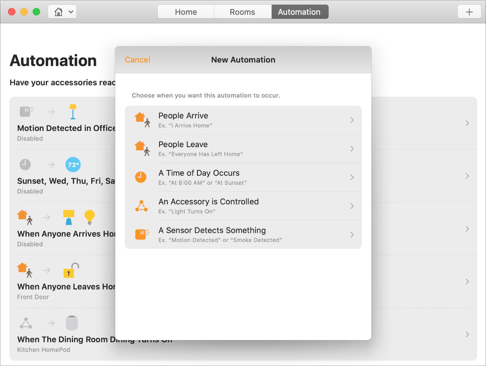 Tạo tự động hóa nhà trên Mac