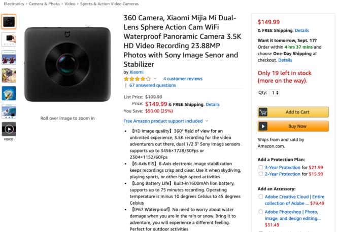 Akčná kamera Xiaomi Mijia 360 porazí 150 dolárov, čo je najnižšia cena vôbec Amazon 1