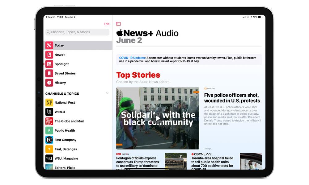 Apple Phát hành iOS 13 đầu tiên.5.5 Beta với sự hỗ trợ cho Apple Tin tức + Âm thanh 1