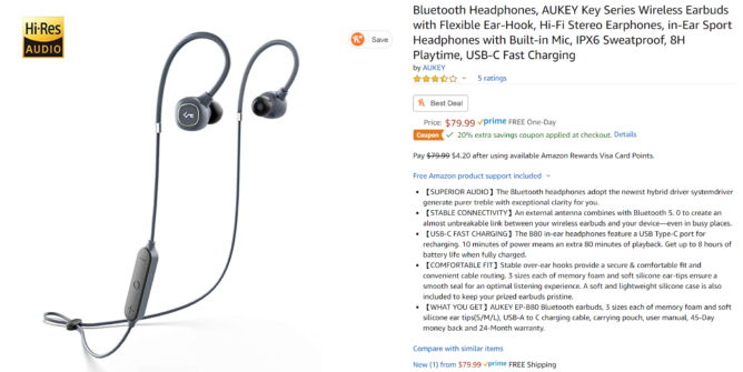 Slúchadlá Bluetooth Aukey B80 sa predávajú za 40 dolárov (zľava 40 dolárov) 1