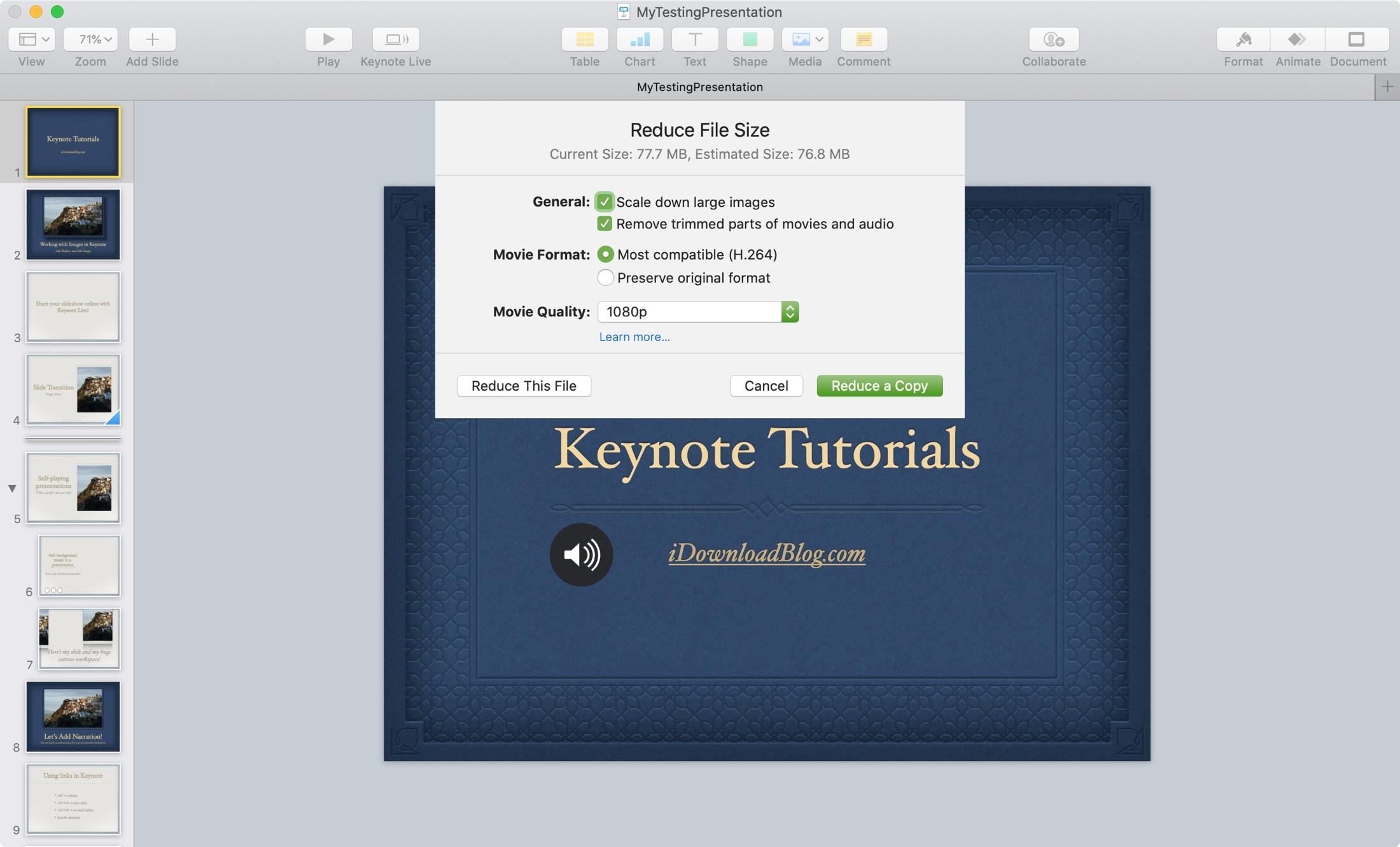 Giảm cài đặt kích thước tệp Mac Keynote