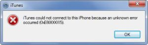 Lỗi iTunes 0xe8000015