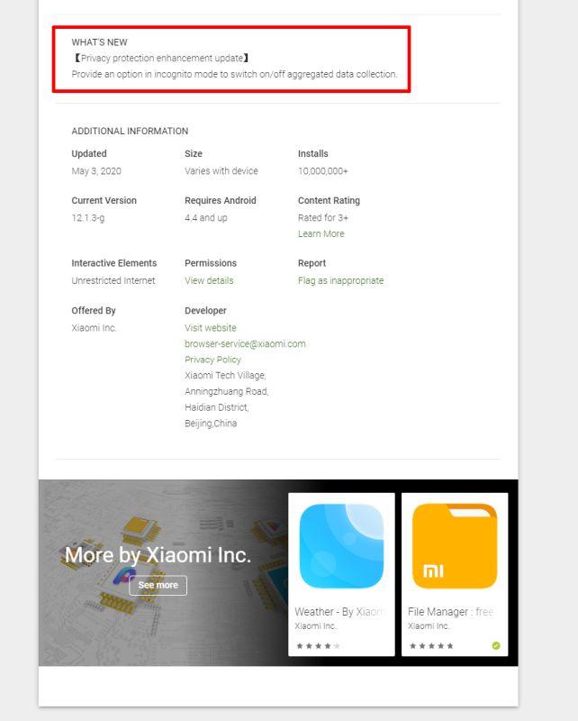 Xiaomi cập nhật Mi Browser và Mint Browser Chế độ ẩn danh cho các vấn đề bảo mật 1