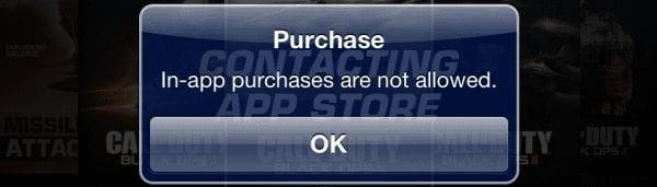 """iPhone a iPad: Oprava správy """"Zakúpenie aplikácie nie je povolené"""" 1"""