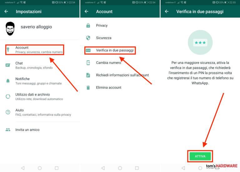 WhatsApp, hur man aktiverar tvåstegsverifiering 3