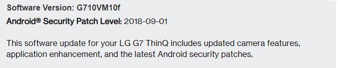 Aktualizácia zabezpečenia Verizon LG G7 ThinQ zo septembra