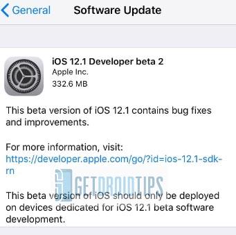 Apple    iOS 12.1 beta 2