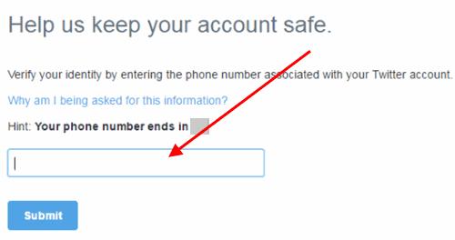Twitter odblokovací účet s telefónnym číslom.