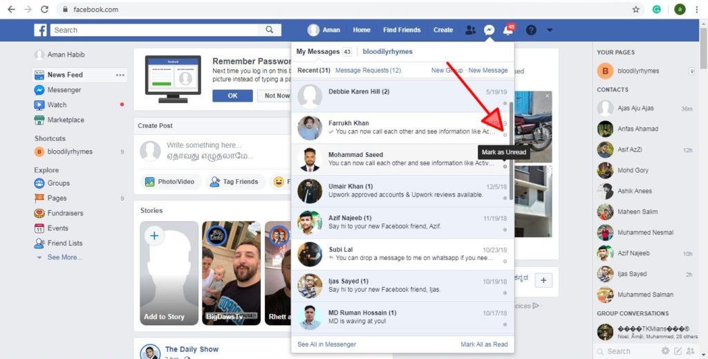 Hur man markerar a Facebook Meddelande som oläst eller osynligt? 3