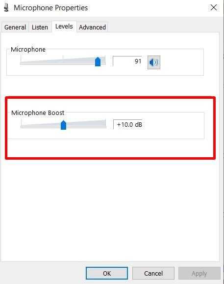 mic boost windows 10