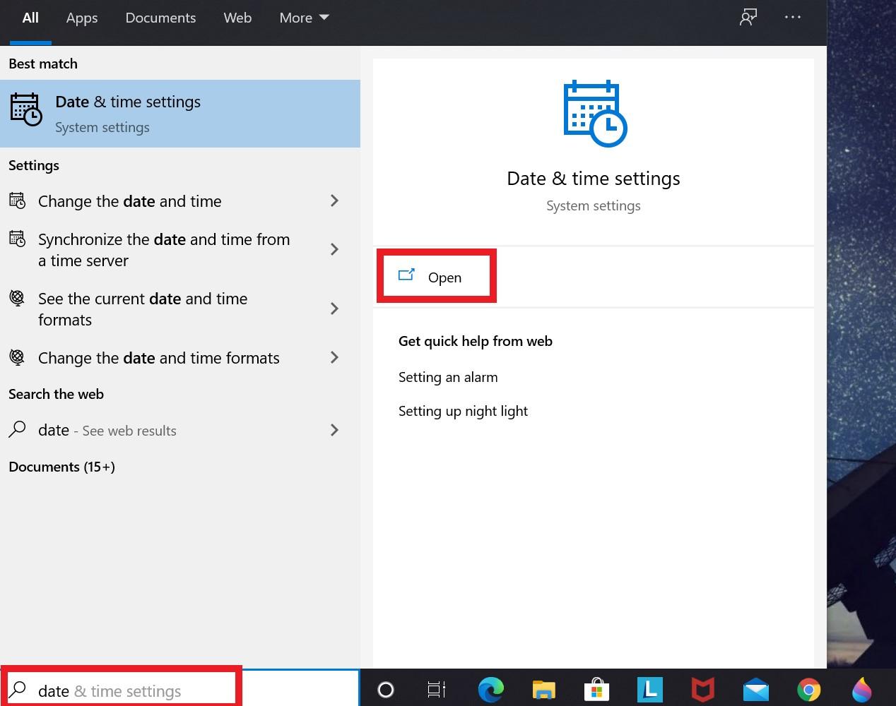 Nastavenie dátumu a času Windows 10