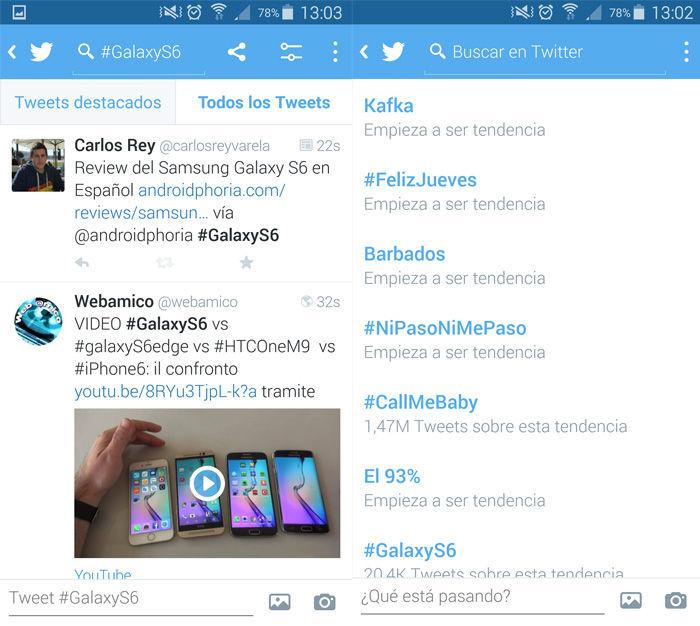 Digite as tendências de Twitter do Android