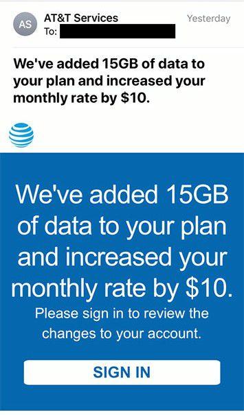 """A AT&T acabou de redefinir a palavra """"bônus"""" como um aumento de US $ 10 nos dados que você não solicitou 2"""